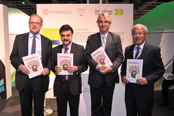 (L-R) Nigel Newton, chief executive of Bloomsbury Publishing; co-editor Dr. Javaid Sheikh, dean of WCMC-Q; Arend Kuster, managing director of QScience.com, and co-editor Dr. Victor Dzau, chancellor for health affairs for Duke University and president and CEO of Duke University Health System.